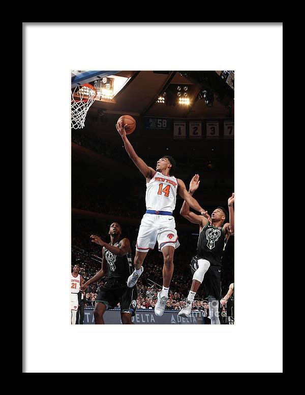 Nba Pro Basketball Framed Print featuring the photograph Milwaukee Bucks V New York Knicks by Nathaniel S. Butler