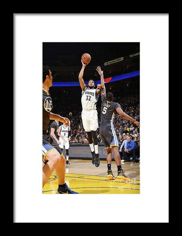 Nba Pro Basketball Framed Print featuring the photograph Minnesota Timberwolves V Golden State by Andrew D. Bernstein