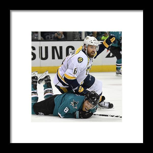 Shea Weber Framed Print featuring the photograph Nashville Predators V San Jose Sharks - by Thearon W. Henderson