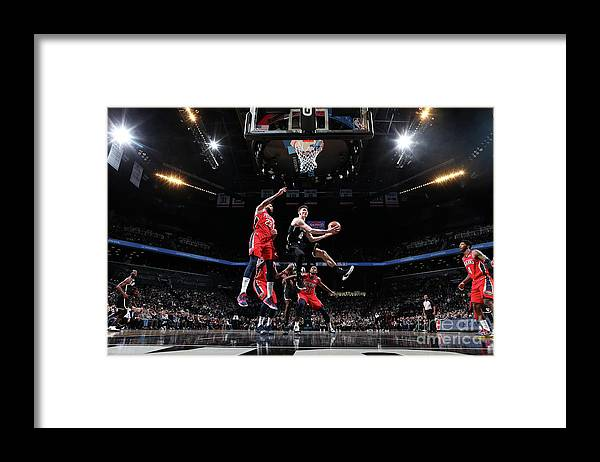 Nba Pro Basketball Framed Print featuring the photograph New Orleans Pelicans V Brooklyn Nets by Nathaniel S. Butler