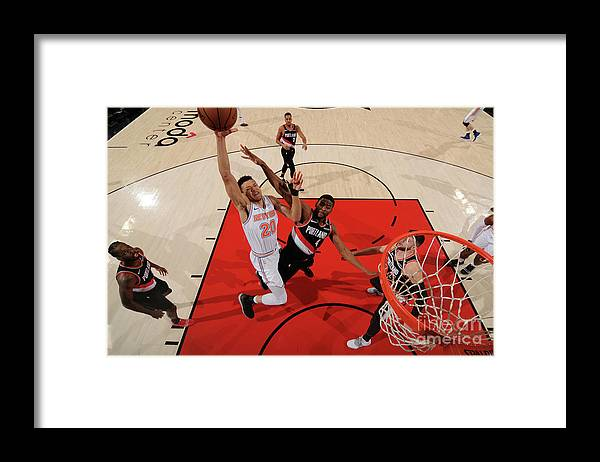Nba Pro Basketball Framed Print featuring the photograph New York Knicks V. Trail Blazers by Cameron Browne