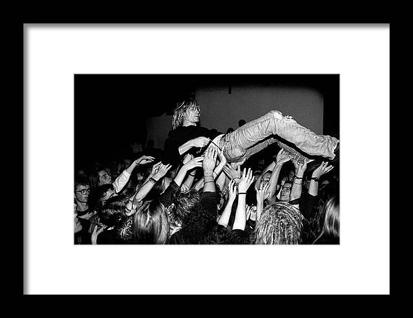 Singer Framed Print featuring the photograph Nirvana Perform Live In Frankfurt by Paul Bergen
