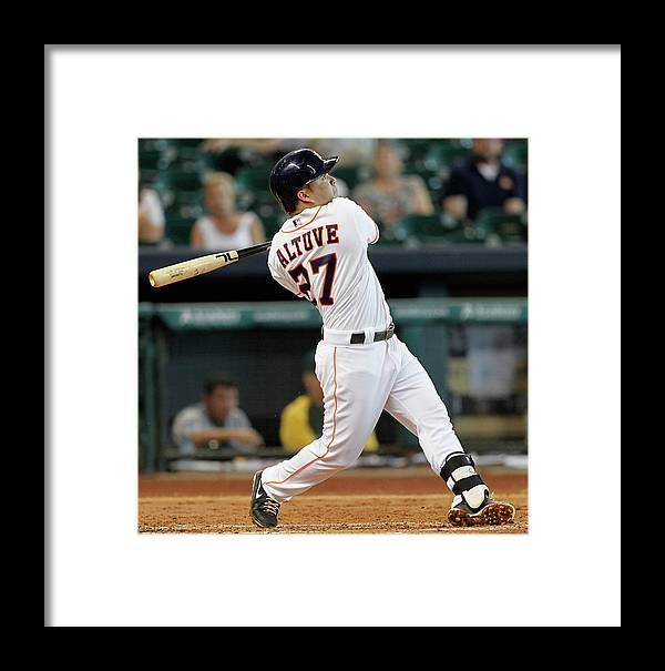 American League Baseball Framed Print featuring the photograph Oakland Athletics V Houston Astros by Bob Levey