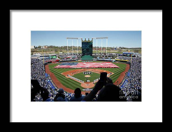 American League Baseball Framed Print featuring the photograph Oakland Athletics V Kansas City Royals by Jamie Squire