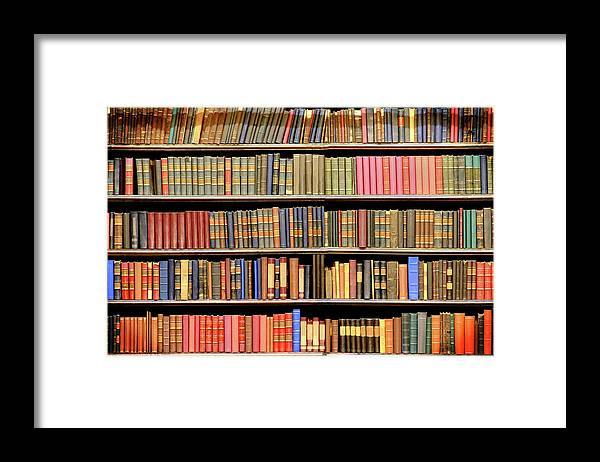Dust Framed Print featuring the photograph Old Books In A Library by Luoman