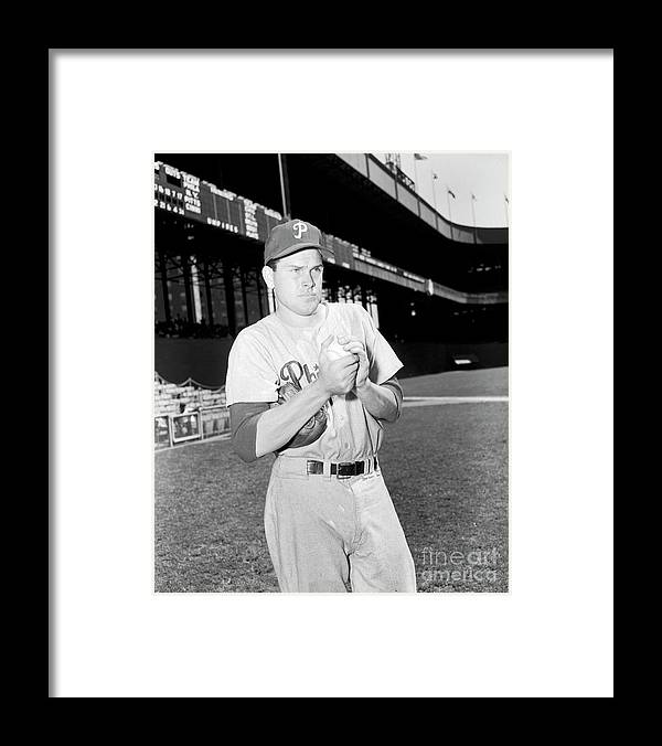 Three Quarter Length Framed Print featuring the photograph Philadelphia Phillies Vs. New York 3 by Kidwiler Collection