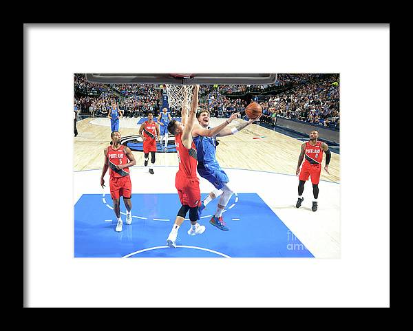 Nba Pro Basketball Framed Print featuring the photograph Portland Trail Blazers V Dallas by Glenn James