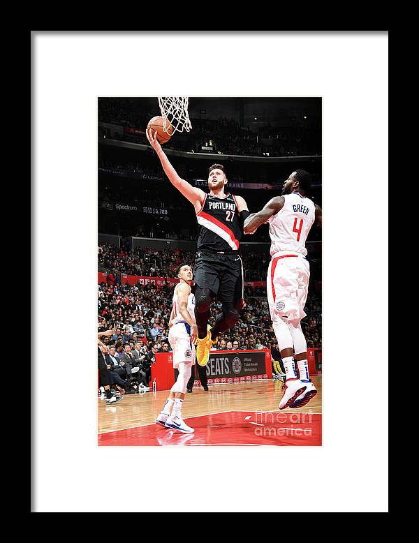 Jusuf Nurkić Framed Print featuring the photograph Portland Trail Blazers V La Clippers by Andrew D. Bernstein