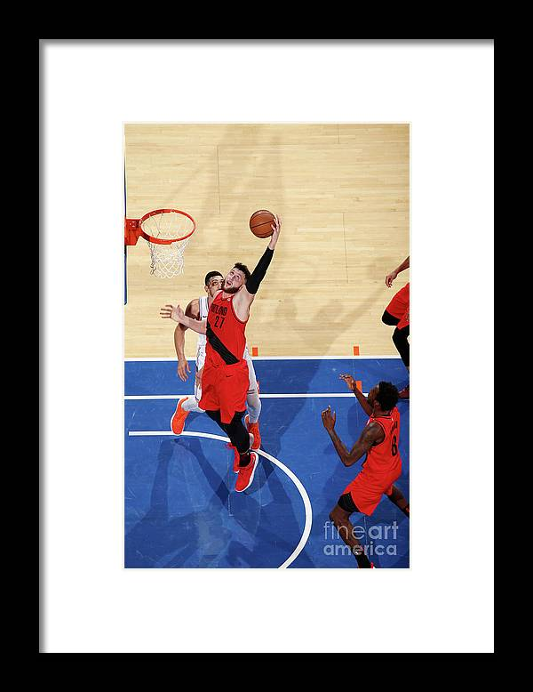 Jusuf Nurkić Framed Print featuring the photograph Portland Trail Blazers V New York Knicks by Nathaniel S. Butler