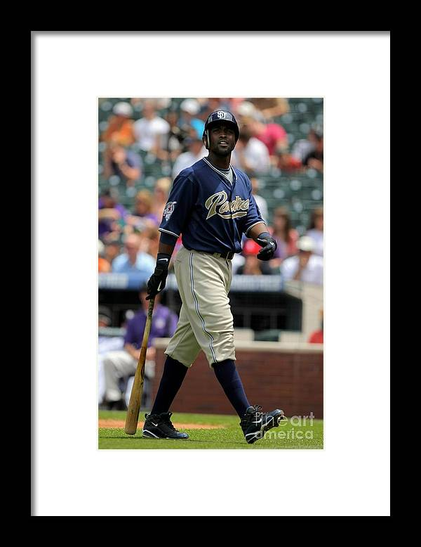 Tony Gwynn Jr. Framed Print featuring the photograph San Diego Padres V Colorado Rockies by Doug Pensinger