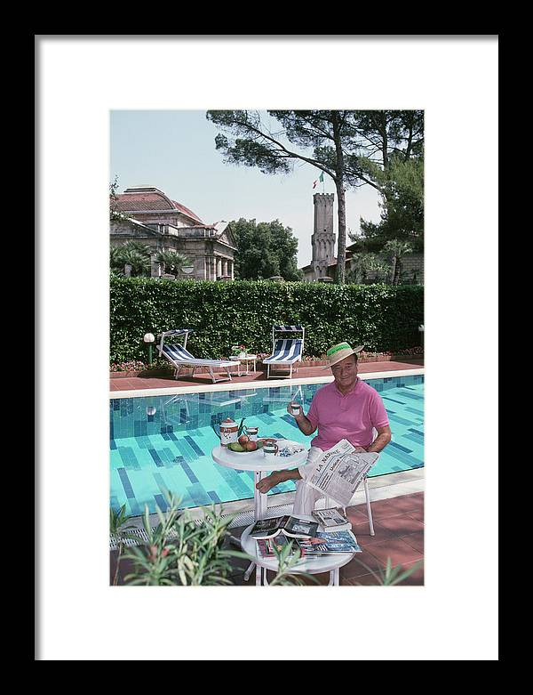 Straw Hat Framed Print featuring the photograph Sirio Maccioni by Slim Aarons