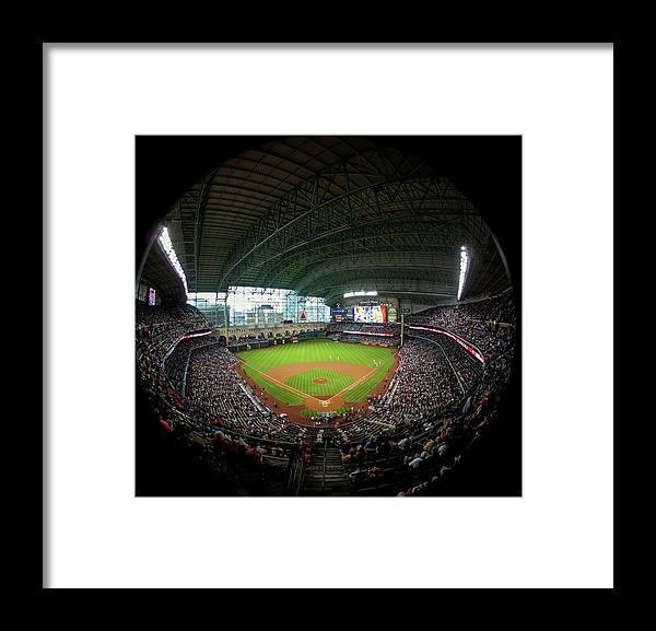 American League Baseball Framed Print featuring the photograph Texas Rangers V Houston Astros by Bob Levey