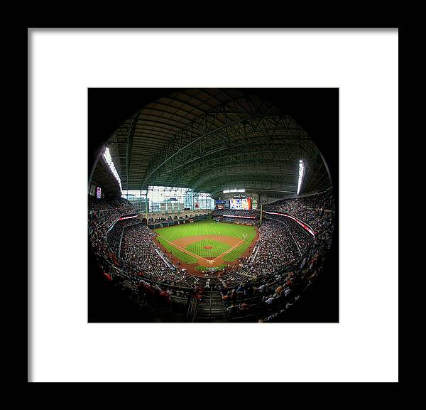 American League Baseball Framed Print featuring the photograph Texas Rangers V Houston Astros by Bob Levey