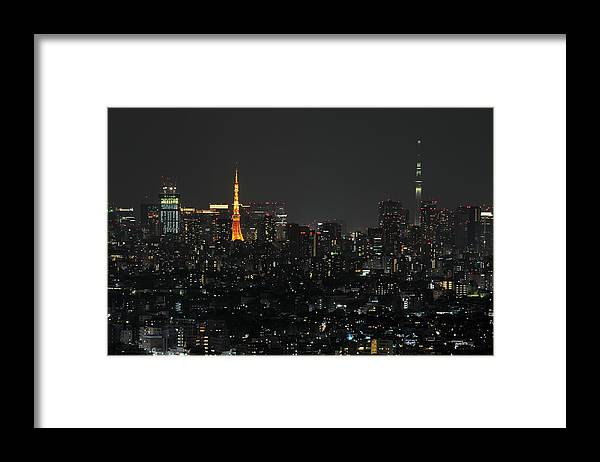 Tokyo Tower Framed Print featuring the photograph Tokyo Tower And Tokyo Skytree by Masakazu Ejiri