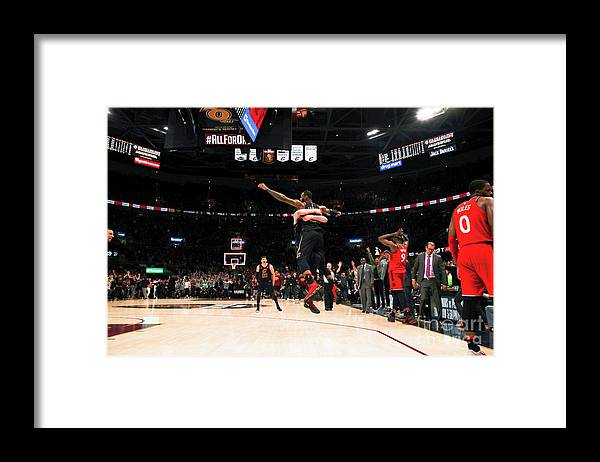 Playoffs Framed Print featuring the photograph Toronto Raptors V Cleveland Cavaliers - by Jeff Haynes