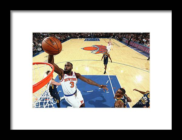 Tim Hardaway Jr. Framed Print featuring the photograph Utah Jazz V New York Knicks by Nathaniel S. Butler