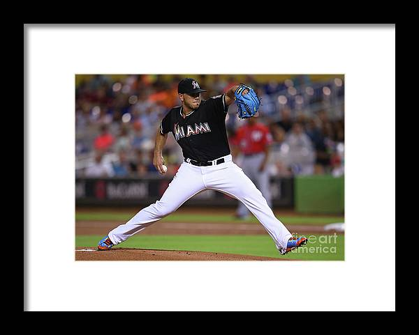 People Framed Print featuring the photograph Washington Nationals V Miami Marlins by Rob Foldy