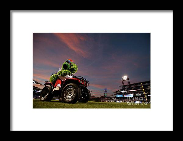 American League Baseball Framed Print featuring the photograph Washington Nationals V Philadelphia by Rich Schultz