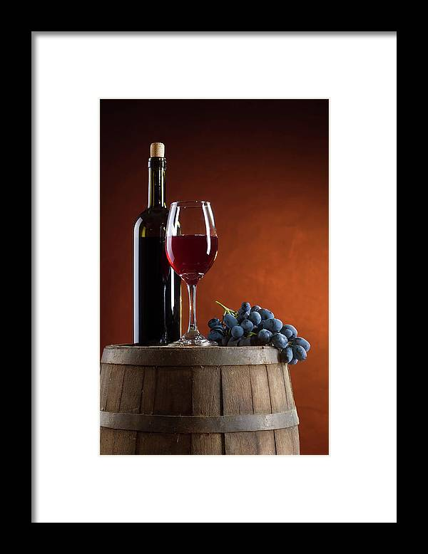 Rose Wine Framed Print featuring the photograph White Wine Composition by Valentinrussanov