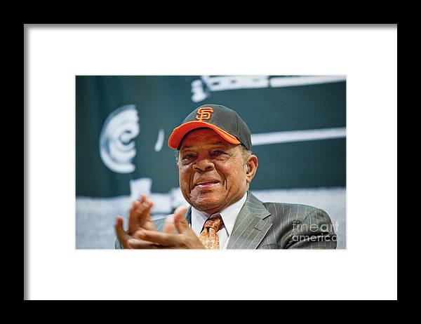 San Francisco Framed Print featuring the photograph Willie Mays And The World Series Trophy by Michael Nagle