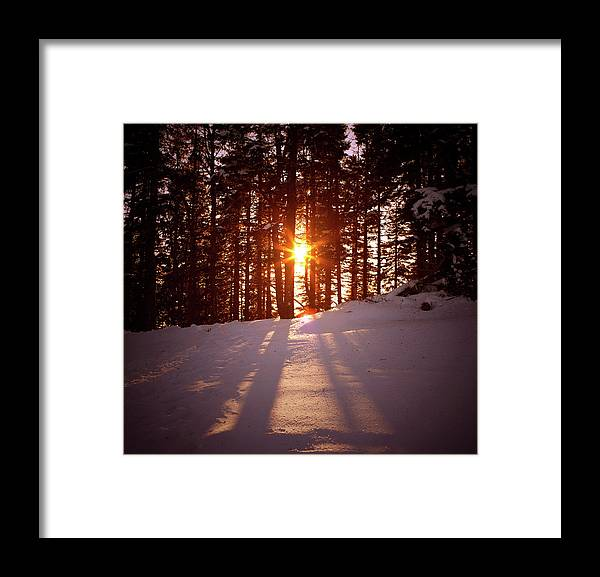 Scenics Framed Print featuring the photograph Winter Sunset by Borchee