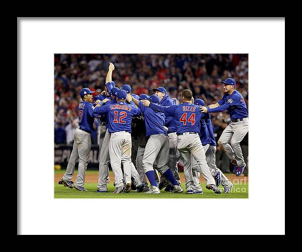 American League Baseball Framed Print featuring the photograph World Series - Chicago Cubs V Cleveland by Elsa