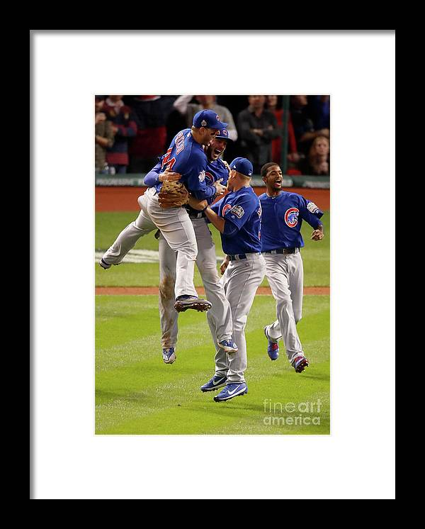 People Framed Print featuring the photograph World Series - Chicago Cubs V Cleveland 3 by Gregory Shamus