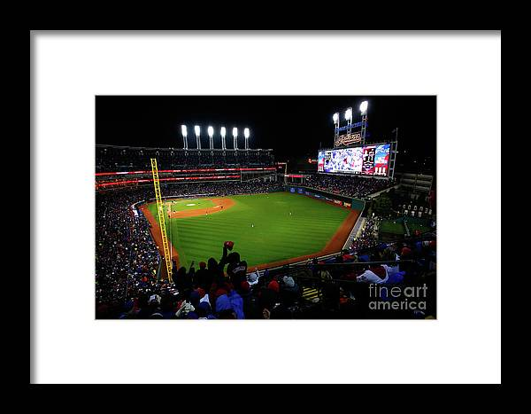 Game Two Framed Print featuring the photograph World Series - Chicago Cubs V Cleveland by Jamie Squire
