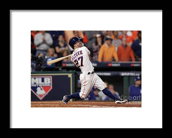People Framed Print featuring the photograph World Series - Los Angeles Dodgers V by Christian Petersen