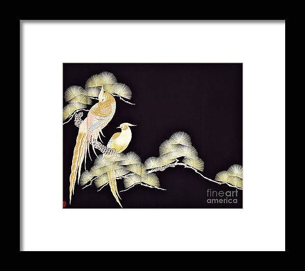 Framed Print featuring the tapestry - textile Spirit of Japan T56 by Miho Kanamori