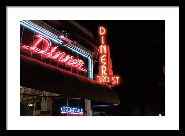 3rd Street Diner Framed Print featuring the photograph 3rd Street Diner Night Lights by Doug Ash