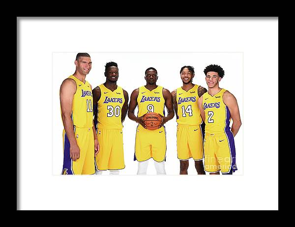 Media Day Framed Print featuring the photograph 2017-18 Los Angeles Lakers Media Day by Andrew D. Bernstein
