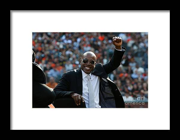 San Francisco Framed Print featuring the photograph Barry Bonds San Francisco Giants Number by Lachlan Cunningham