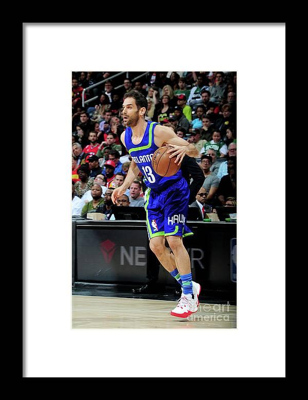 Atlanta Framed Print featuring the photograph Boston Celtics V Atlanta Hawks by Scott Cunningham