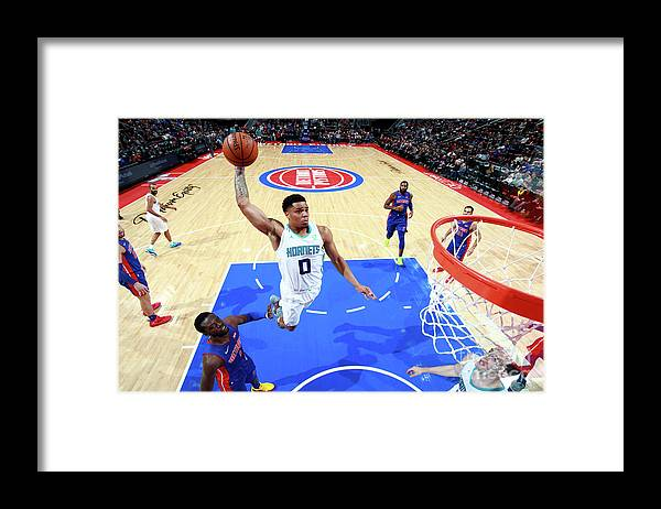 Nba Pro Basketball Framed Print featuring the photograph Charlotte Hornets V Detroit Pistons by Brian Sevald