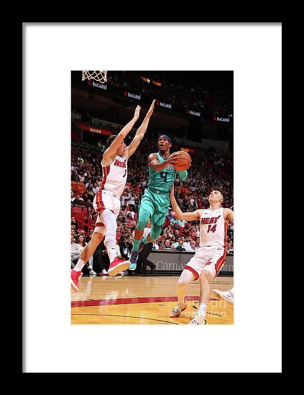 Nba Pro Basketball Framed Print featuring the photograph Charlotte Hornets V Miami Heat by Issac Baldizon