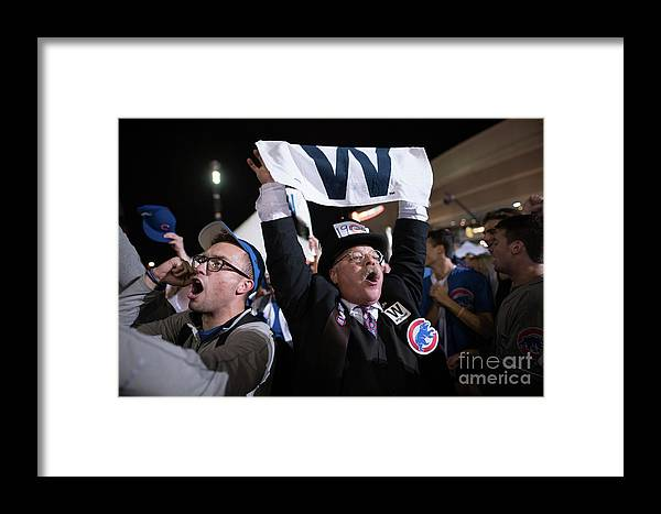 Celebration Framed Print featuring the photograph Cleveland Indians Fans Gather To The 4 by Justin Merriman