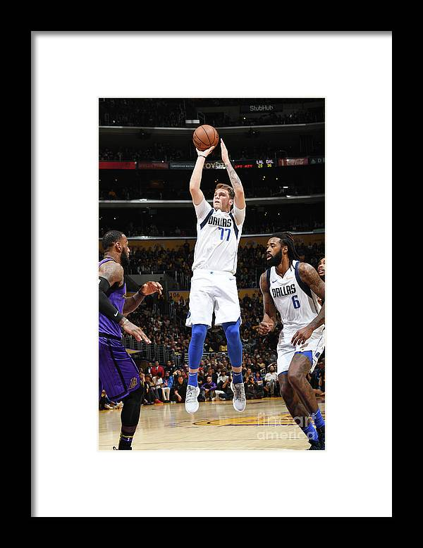 Nba Pro Basketball Framed Print featuring the photograph Dallas Mavericks V Los Angeles Lakers by Andrew D. Bernstein