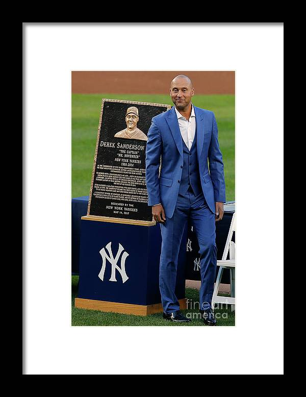 People Framed Print featuring the photograph Derek Jeter Ceremony by Rich Schultz