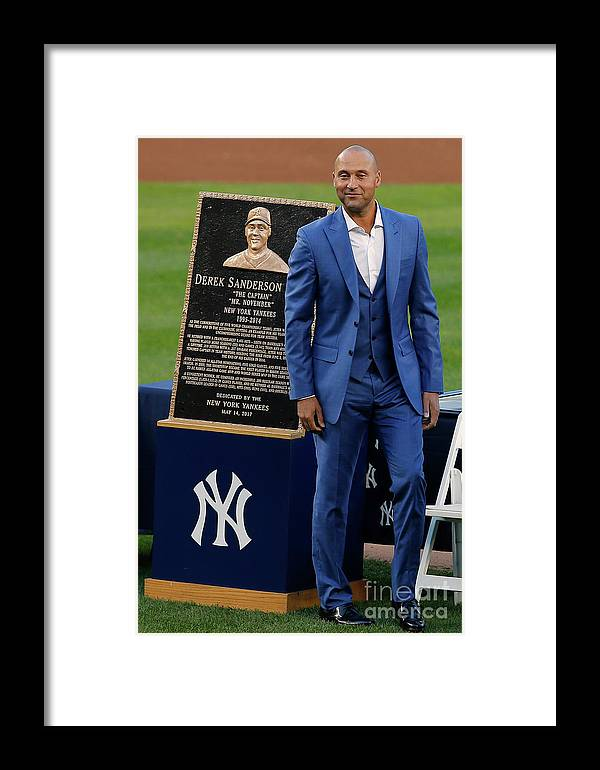 People Framed Print featuring the photograph Derek Jeter Ceremony 4 by Rich Schultz