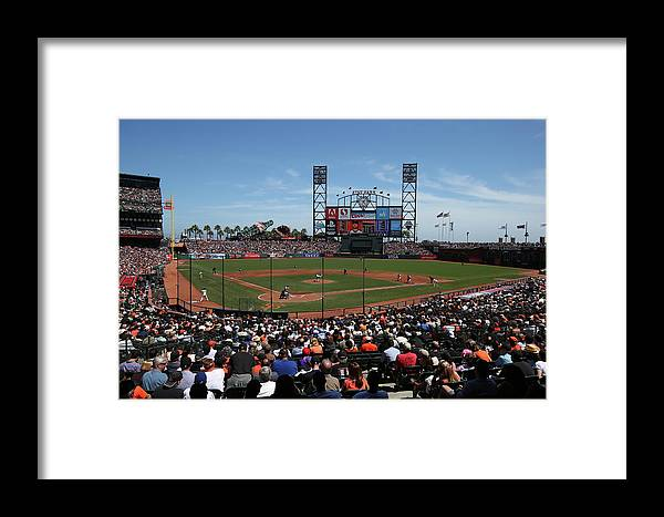 San Francisco Framed Print featuring the photograph Los Angeles Dodgers V. San Francisco by Brad Mangin