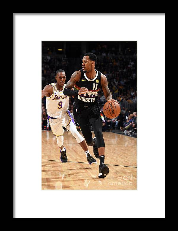 Nba Pro Basketball Framed Print featuring the photograph Los Angeles Lakers V Denver Nuggets by Garrett Ellwood