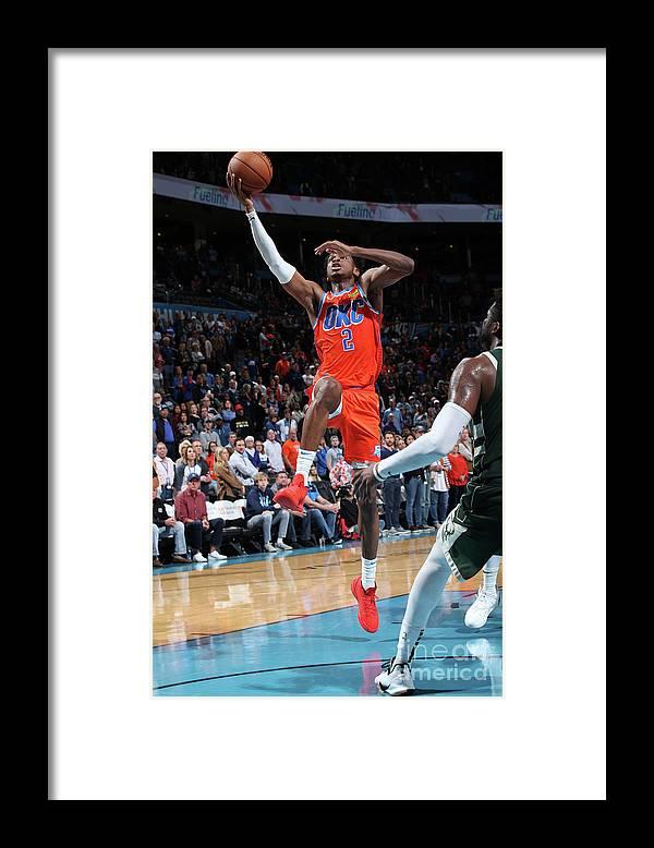 Nba Pro Basketball Framed Print featuring the photograph Milwaukee Bucks V Oklahoma City Thunder by Zach Beeker
