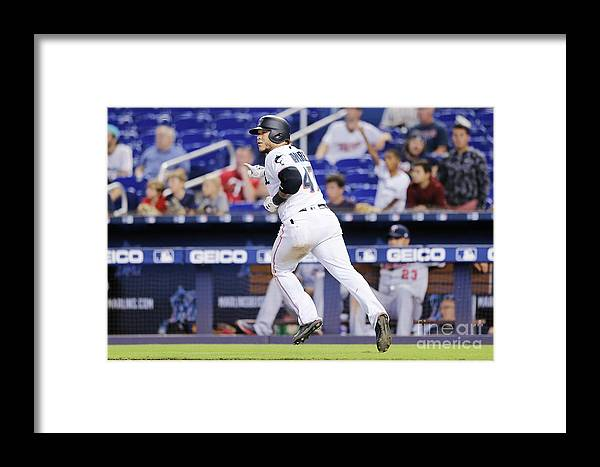 American League Baseball Framed Print featuring the photograph Minnesota Twins V Miami Marlins by Michael Reaves