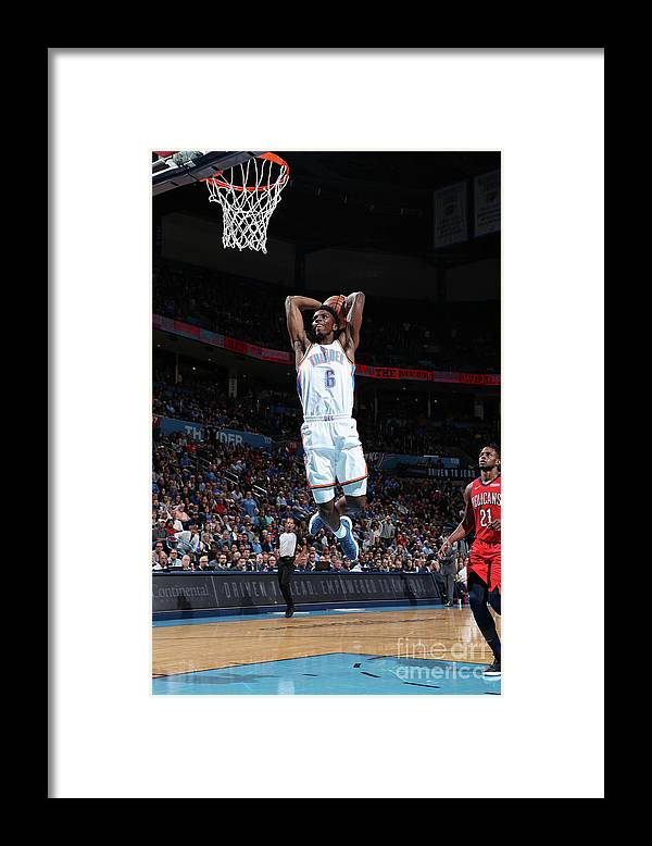 Nba Pro Basketball Framed Print featuring the photograph New Orleans Pelicans V Oklahoma City by Joe Murphy