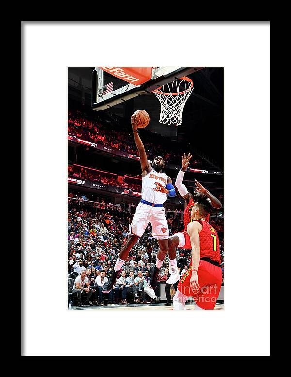 Atlanta Framed Print featuring the photograph New York Knicks V Atlanta Hawks by Scott Cunningham