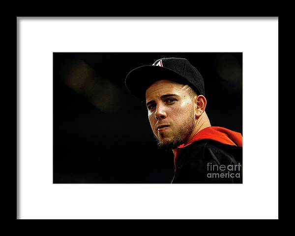 People Framed Print featuring the photograph New York Mets V Miami Marlins by Mike Ehrmann