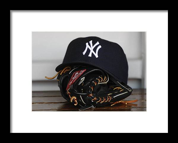 American League Baseball Framed Print featuring the photograph New York Yankees V Florida Marlins by Ronald C. Modra/sports Imagery