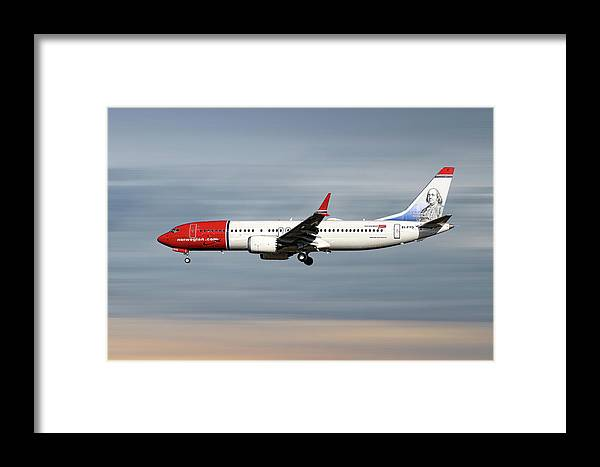 Norwegian Framed Print featuring the mixed media Norwegian Boeing 737 Max 8 by Smart Aviation