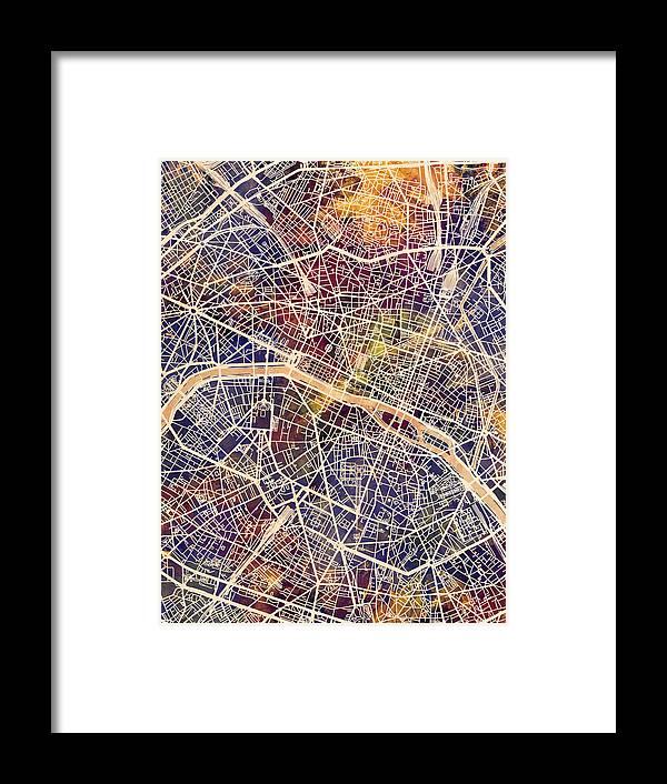 Paris Framed Print featuring the digital art Paris France City Map by Michael Tompsett
